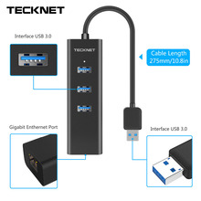 TeckNet 3 Port USB3.0 Hub 10/100/1000 Gigabit Ethernet LAN Wired Network Adapter USB 3.0 to RJ45