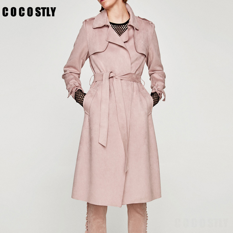 High Quality 2018 Suede Trench Coat Women Abrigo Mujer Long Elegant Outwear Female Overcoat Slim Pink Suede Cardigan Trench