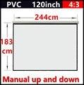 120 Polegada 4:3 Manual branco fosco tela de projeção portátil de mão com ganho de 1.1 Fixado Na Parede tela de projeção Projetor Branco Fosco
