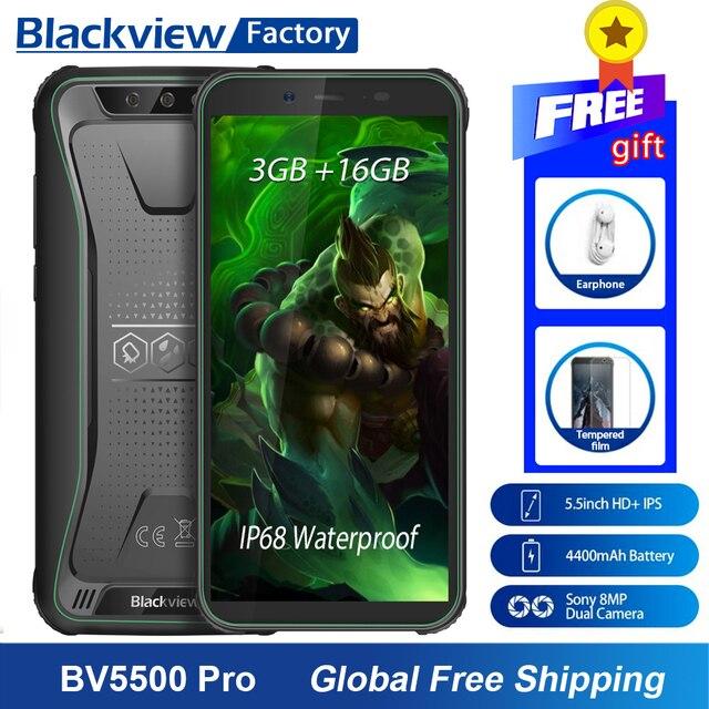 "Blackview BV5500 פרו Smartphone IP68 עמיד למים 5.5 ""HD + אנדרואיד 9.0 3 GB זיכרון RAM 4G טלפון נייד 8.0MP מצלמה NFC מוקשח טלפון סלולרי"