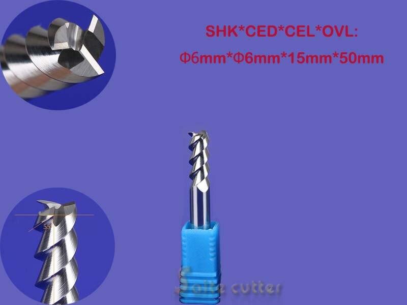 2pcs 6*15mm Three Flutes Carbide Cutters/ End Mill Tools/Cutting Bits/CNC Router Tool Bits/Engraving Tools/Cutting MDF/Wood/PVC