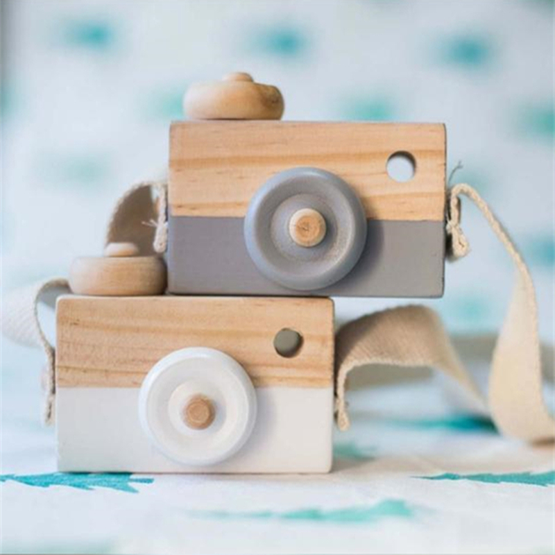 Cute Nordic Hanging Wooden Camera Toys Kids Toy Gift 9.5*6*3cm Room Decor Furnishing Articles Wooden Toys For Kid(China)