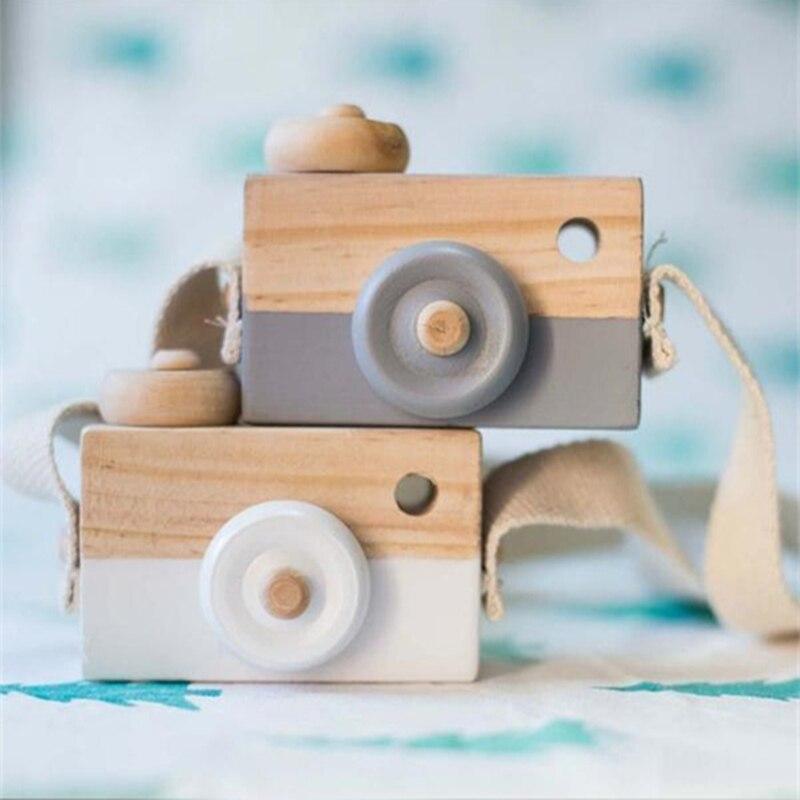 Mignon nordique suspendus en bois caméra jouets enfants jouet cadeau 9.5*6*3cm chambre décor Articles d'ameublement en bois jouets pour enfant