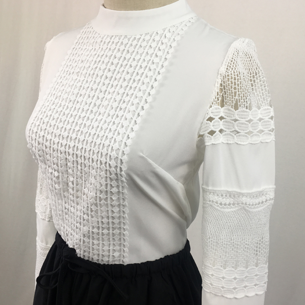 2019 Lace Chiffon Blouse Women Shirt Plus Size Casual ladies long sleeve Womens Tops and Blouses