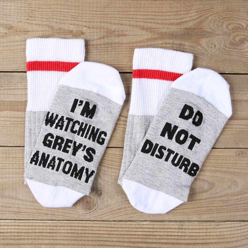 4b7235346e7f ... [EIOISAPRA]2 Colors I'm Watching Grey's Anatomy Socks Letter Print Funny  Socks ...