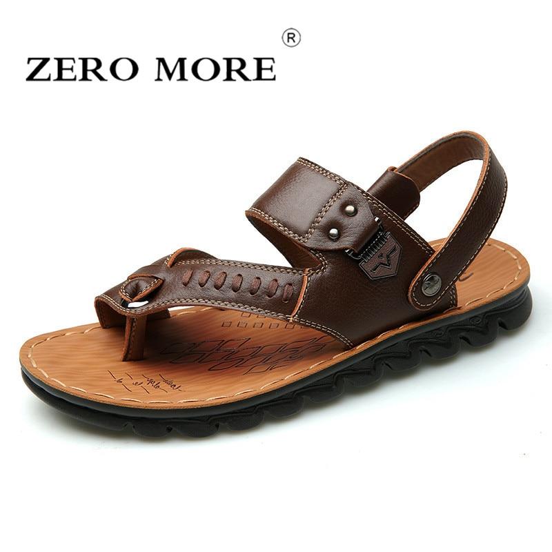 ZERO MORE Mens Shoes Pig Leather Flip Flops Designer Sandals Summer Slipper Men Shoes Beach Rome Gladiator Soft Slip Sandals Men