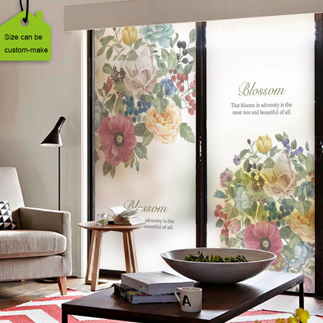 Free size Static Glass Window Film Stained Decorative Privacy Window Films Peony Flower Size Customized Removable Natural Style