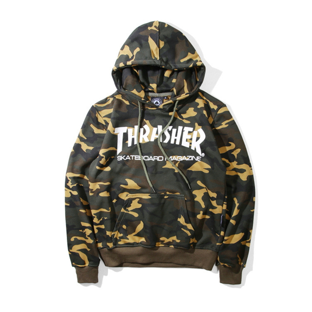 High Quality Autumn Mens Camouflage Thrasher Hoodies 100% Cotton Skateboards Magazine Camo Trasher Hooded Sweatshirts And Hoodie