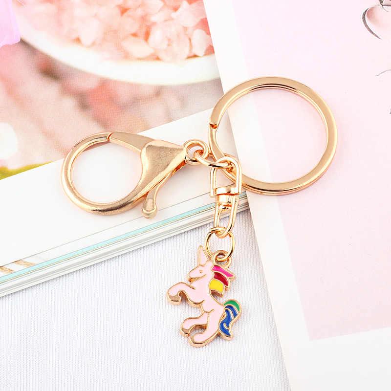 2019 13 estilos dos desenhos animados menina coração chaveiro para as mulheres saco gato chaveiro criativo bonito rosa flamingo chaveiros simples jóias presentes