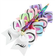 96596bc53baac 7   Large Sequin Unicorn Cheer Bows Glitter Print Flower Hair Bow With Elastic  Hair
