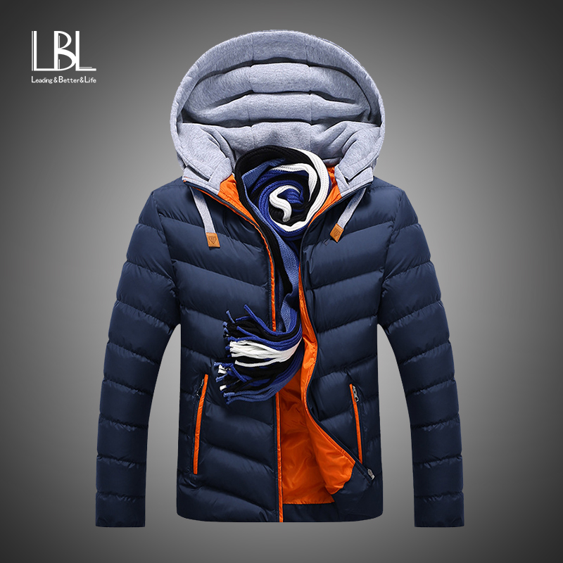 2018 New Winter Men Parkas Warm Down Jacket Casual Cotton Padding Parka Male Casual Slim Fit Patchwork Hooded Jacket Coat Men