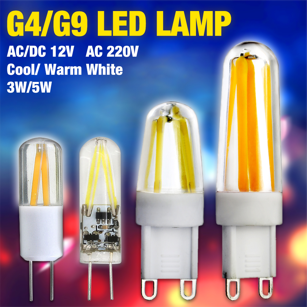TSLEEN 10x Dimmable G9 LED Lamp 220V Mini LED G4 Filament Bulb COB LED Light Bulb High Quality Chandelier Lights Warm Cold White