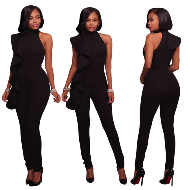 02819b941ff Black Ruffles Cut Shoulder Jumpsuits Women Summer Sexy Skinny Body Jumpsuit  Romper Combinaison Full Length Female Playsuits XXL