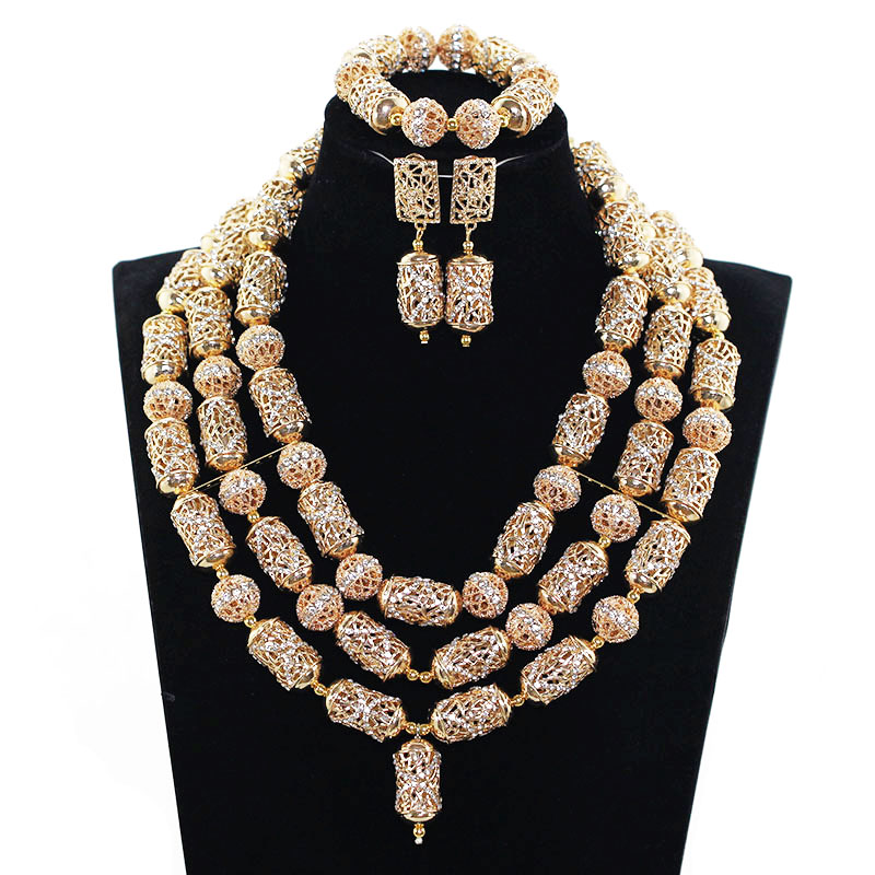 Indian Bridal African Jewelry Sets Luxury Dubai Gold Accessory Jewelry Wedding Necklace Set Birthday Gift Free Shipping ABH534
