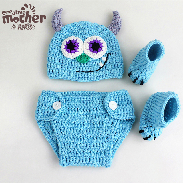 95dcba17c4557 Cotton Newborn Photography Props Fotografia Crochet Infant Baby Hat Pant  Shoes Monster Baby Boy Girls Clothing