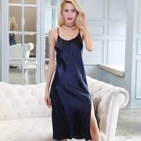 Real silk Woman fashion Sexy sleeping skirt summer bedgown mulberry silk nightgowns shoulder straps sleep wear