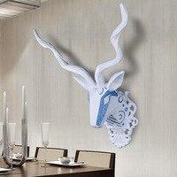 Ealisen настенный синий и белый овец трофейная голова Wall Art Доска Охота скульптура искусственного таксидермия современные висит дома декор