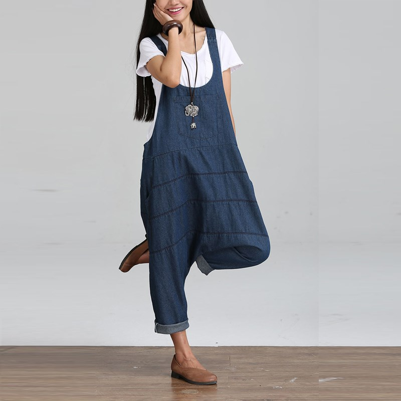 9a6c293f34e5 2018 Summer Autumn Dungaree Rompers Womens Jumpsuits Vintage Sleeveless  Backless Casual Loose Solid Overalls Strapless Playsuits-in Rompers from  Women s ...