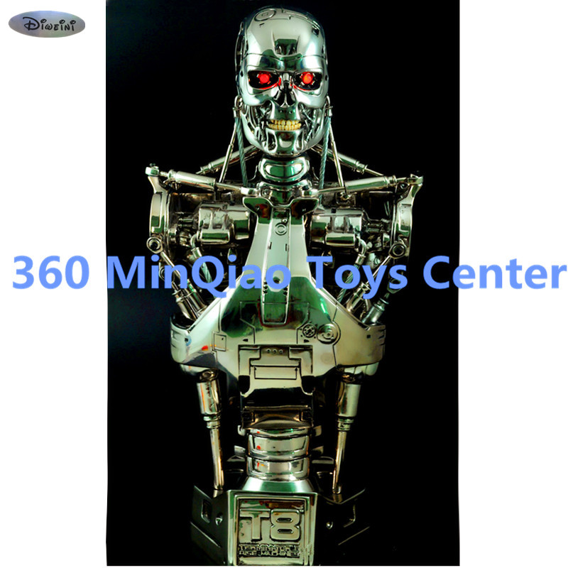 Statue Terminator 1:2 Bust T800 Half-Length Photo Or Portrait T2 Skull Resin Eyes Can Be Shiny Collectible Model Toy WU871 captain america civil war statue avengers vision bust superhero half length photo or portrait resin collectible model toy w142