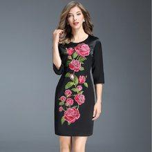 88ab2dc8bbc 2017 NOUVEAU qualité Supérieure Broderie d hiver robe Automne Femmes  Vêtements Mince Partie Robe XXL livraison gratuite fleur ro.