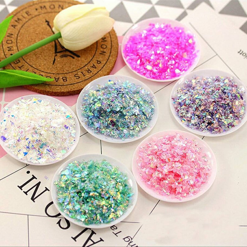 YTLK Nail Art Acrylic Glitter Ice Mylar Shell Foil Paper Powder Nails Mirror Chrome Sugar TWSDF