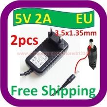 2 шт в наборе, 5V DC 2A 2000mA адаптер переменного тока 3,5 мм x 1,35 мм/EU plug Умный дом стены Зарядное устройство Питание шнур