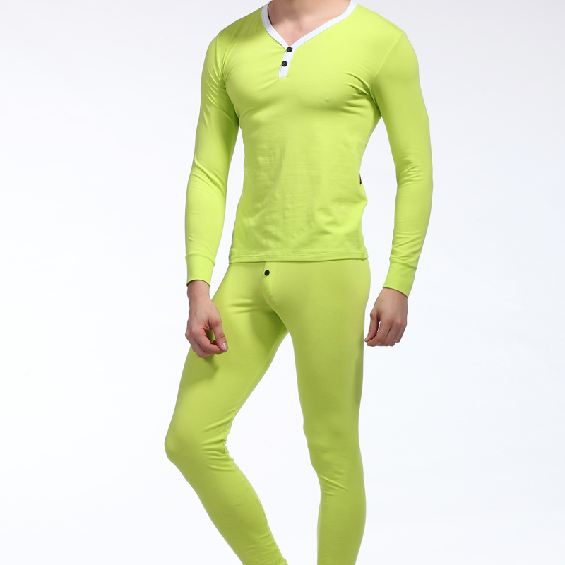 Men's Two Piece Long Johns Top & Bottoms Thermal Underwear Set NEW Cotton Autumn Winter Basic Long John Sets