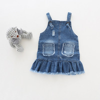 New Cotton Casual Mini Length Dresses Denim Dresses For Baby Girls Cool Style Spring Summer 2017