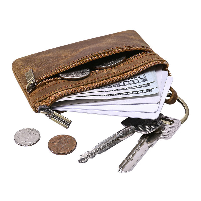 Genuine Leather coins purse Mini Small Key Wallet Female High Quality Zipper Men Women Money Coin Purses male coin bags monedero