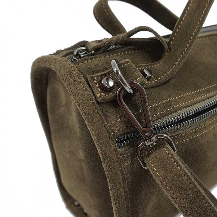 LilyHood Kadın Süet Hakiki Deri Perçin omuzdan askili çanta Kadınlar Için Eğlence Küçük boston çanta Nubuk Melon Crossbody Çanta