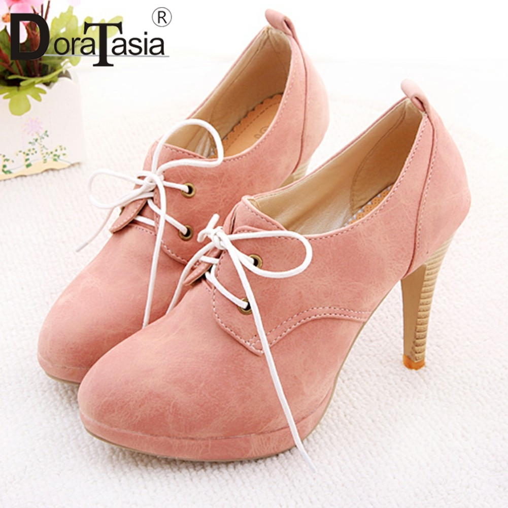 DoraTasia Fashion Large Size Lace Up Super Thin High Heels Flock Cover Platform Ankle Boots For Ladies 2019 Shoes Woman 34-43