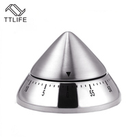 TTLIFE 2017 New Arrival Creative Stainless Steel Conical Style Kitchen Mech Timer Dial Timing Controller Alarm Minutur Clock