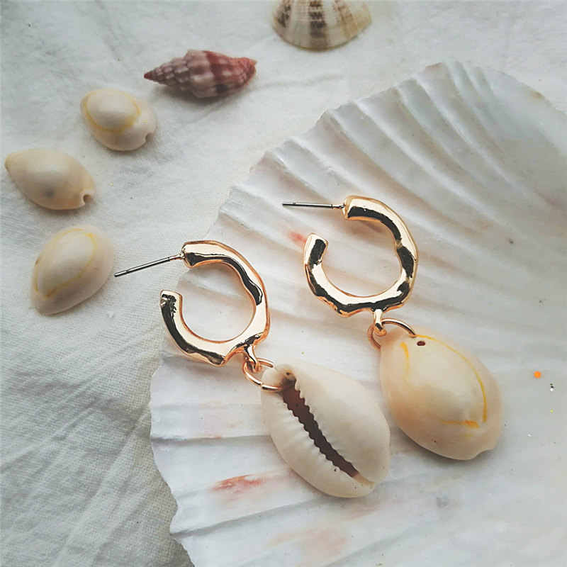IF ME Fashion ZA 2019 Big Gold Cowrie Natural Sea Shell Earrings For Women Summer Shell Earring Dangle Drop Earrings Jewelry NEW