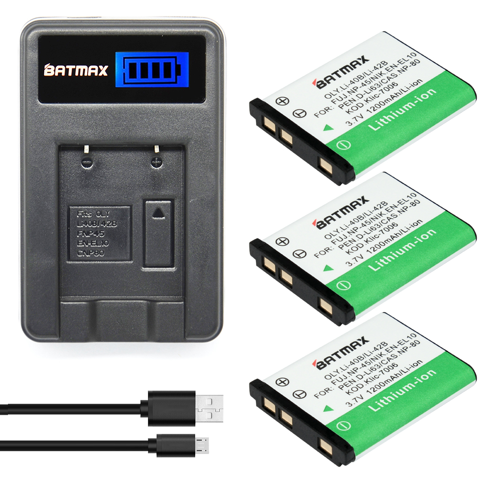 3Pcs LI-40B LI 40B LI-42B LI 42B LI42B Battery + Charger for Olympus for FUJIFILM fuji NP-45 NP 45 NP45 NP 45A 45B 45S EN-EL10