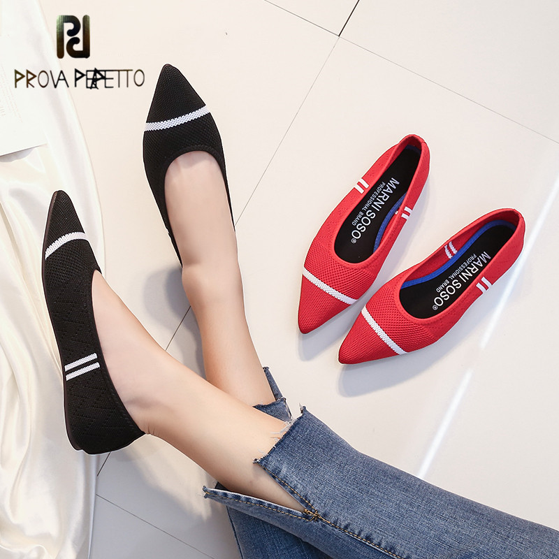 Prova perfetto Pointed Toe Elderly Designer Slip On Wide Fit Shoes Lady Women Breathable Striped Black And White Flats 2019 Knit
