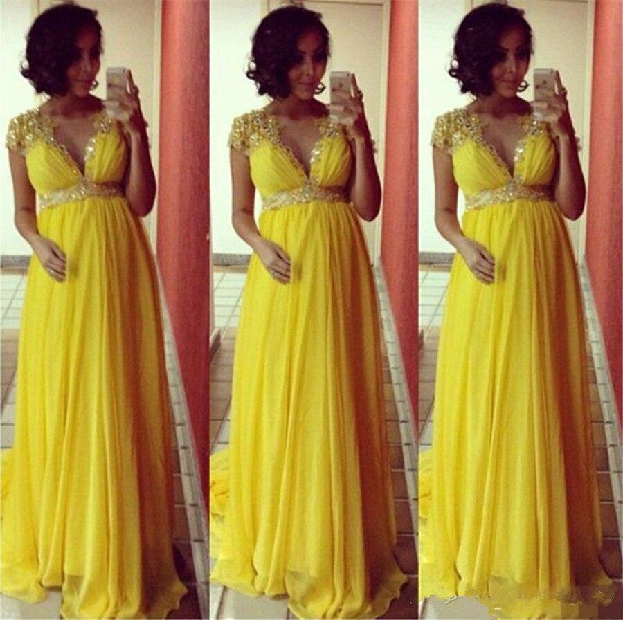 Robes de soirée femme enceinte 2019 robe de soirée de reconstitution historique robe de soirée col en V robe de soirée en mousseline de soie robe de soirée