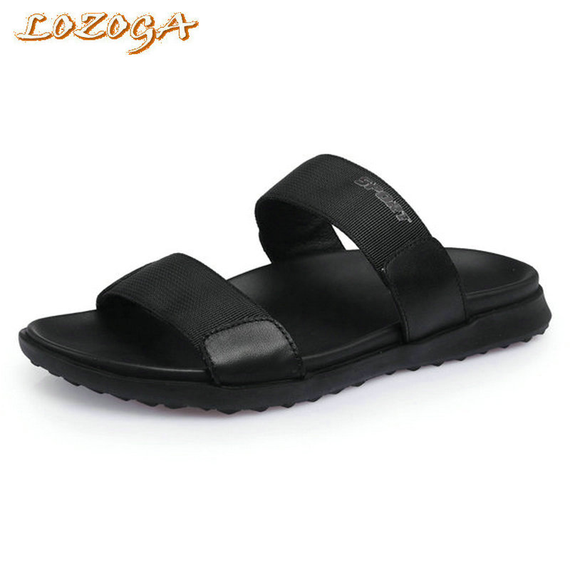 New Men Sandals Genuine Leather Open Toe Casual Shoes High Quality Summer Slipper Concise Beach Shoes Black Luxury Brand Shoes