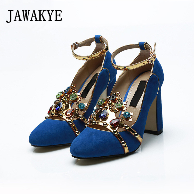 JAWAKYE Blue Crystal High heel Pumps Women Chunky high heels Runway Shoes Rhinestones Buckle strap Ladies Party Wedding Shoes new runway designer women sandals jewel heel blue leather chunky high heel shoes pumps ladies crystal buckle sandals party shoes