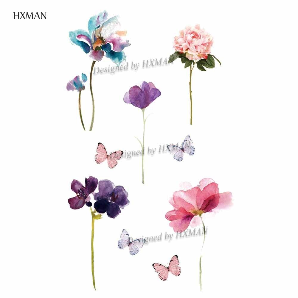 HXMAN Flower Temporary Tattoos Sticker Waterproof Fashion Women Arm Face Fake Body Art 9.8X6cm Kids Adult Hand Tatoo P-074