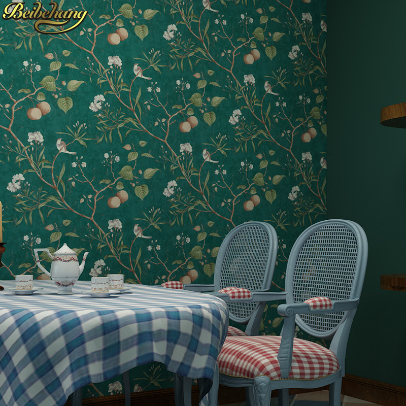beibehang American retro apple tree wallpapers for living room bedroom TV background garden flowers bird wallpaper for kids room beibehang new italian pastoral large nonwovens wallpapers living room bedroom background wallpaper housekeeping
