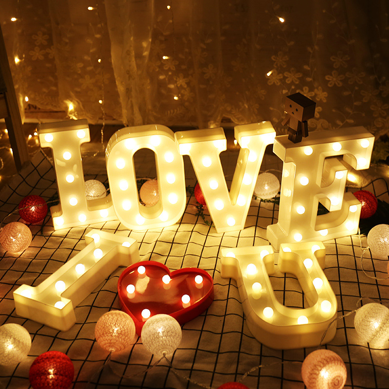 Luminous LED Letters Night Light Creative English Alphabet Number Battery Lamp Romantic Wedding Party Decoration Christmas Gift