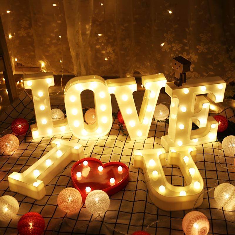 Световой светодиодный светящиеся буквы декор ночник Творческий Английский алфавит номер Батарея лампа Романтический Свадебная вечеринка ...