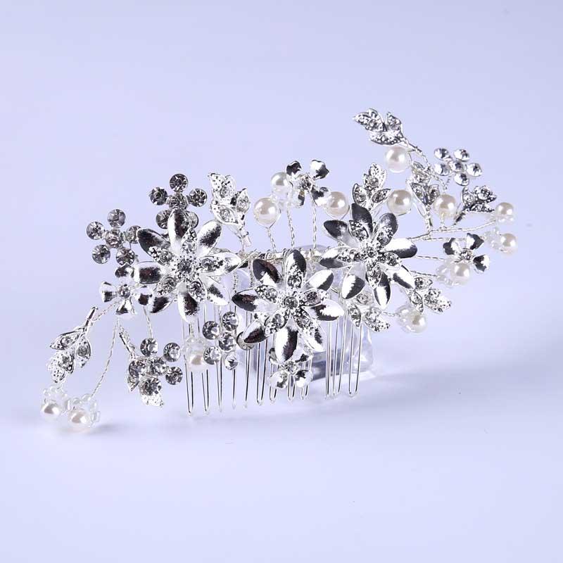 HTB1VpyuQXXXXXXLXVXXq6xXFXXXa Romantic Flower Bouquet Rhinestone Crystal Pearl Hair Jewelry For Wedding/Prom/Party