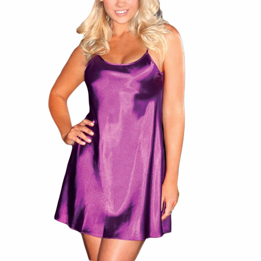 Женское сексуальное шелковое атласное Ночное платье без рукавов, ночная рубашка с круглым вырезом размера плюс, кружевная ночная рубашка, ночная рубашка для женщин