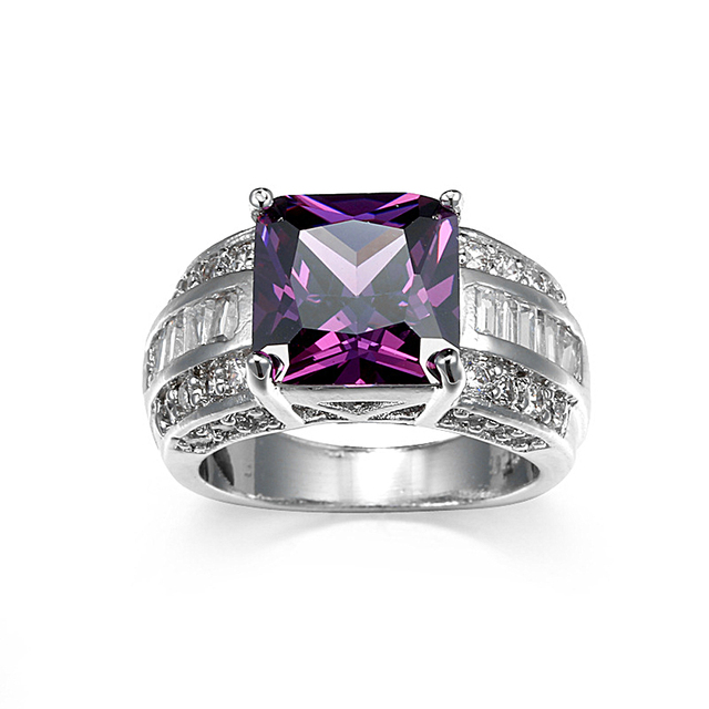 Zircon Engagement Rings For Women Red Purple Stone Gold Ring Couple Knuckle Anillos Vintage Crystal