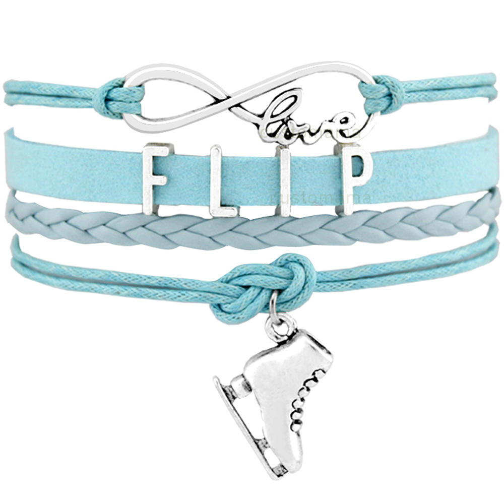 Flip Axel Salchow Loop Jump Lutz Toe Loop Figure Skating Sports Infinity Love Charm Bracelets Women Men Girl Boy Unisex Jewelry
