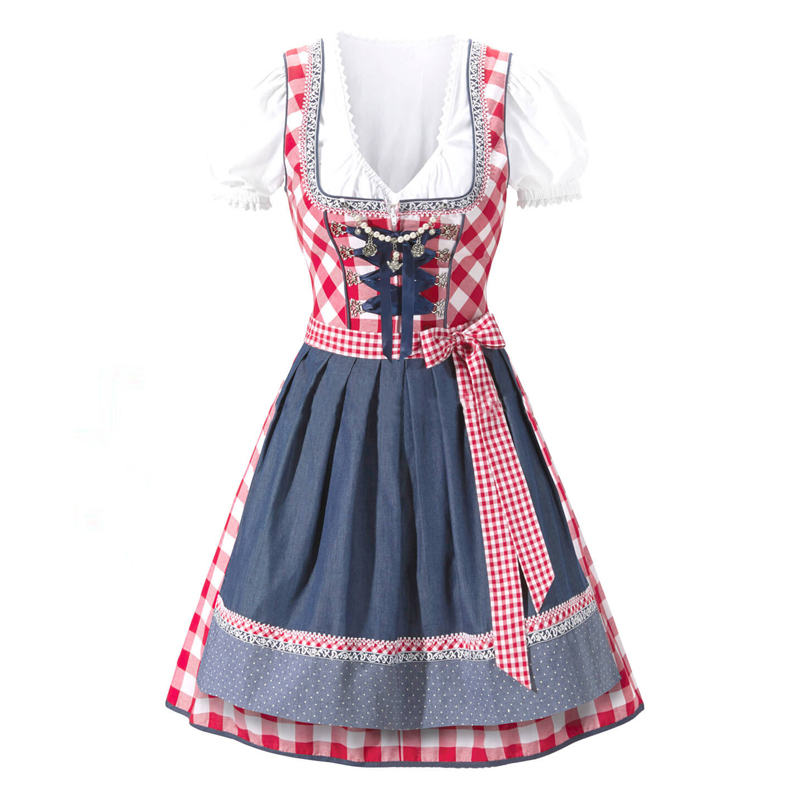 S-XXL German Beer Girl Costume Adult Bavarian Dirndl Dress Apron Blouse Gown Costume Oktoberfest Beer Festival Sexy Maid Costume