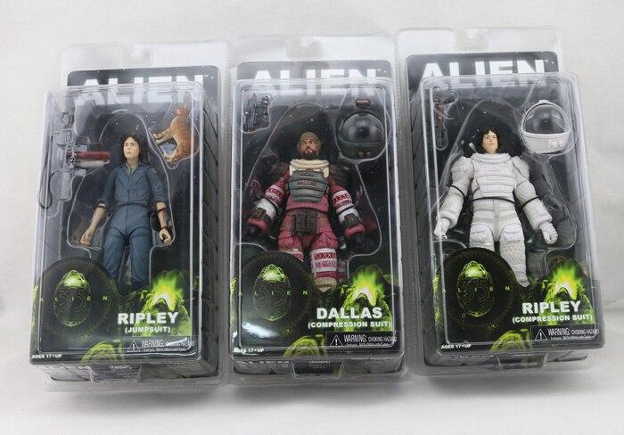 3pcs <font><b>Ripley</b></font> Jumpsuit Dallas <font><b>Ripley</b></font> Compression Nostromo Suit Spacesuit Classic Sci-Fi <font><b>Aliens</b></font> <font><b>Series</b></font> 4 <font><b>Action</b></font> <font><b>Figure</b></font> 18CM