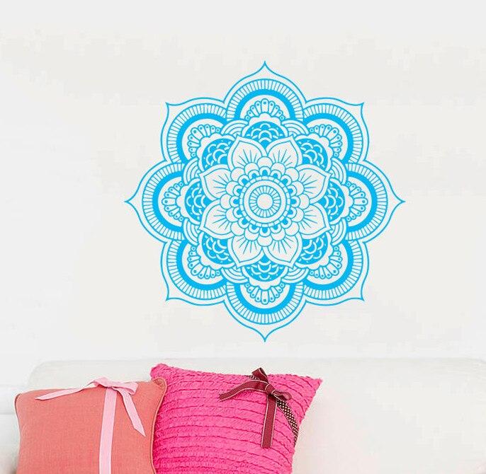 벽 데칼 비닐 스티커 아트 홈 장식 벽화 만다라 장식 인도 기하학적 모로코 패턴 요가 나마스테 연꽃