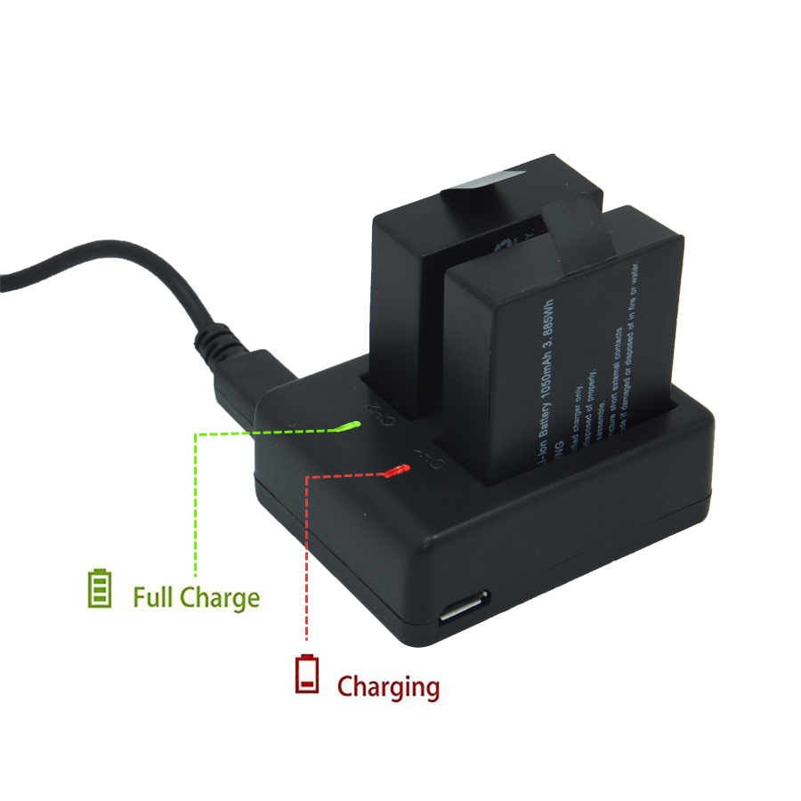 Storage Batteries Action Camera battery Charger for VeFly Soocoo SJCAM SJ4000 SJ5000 for ken h9r/H9 1050mah Battery
